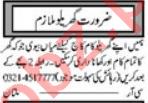 Domestic Staff Jobs Open in Multan 2021