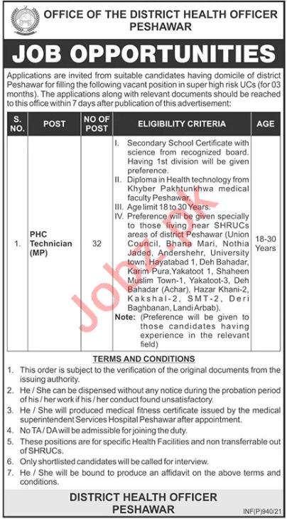 Health Department Peshawar Jobs 2021 for PHC Technician