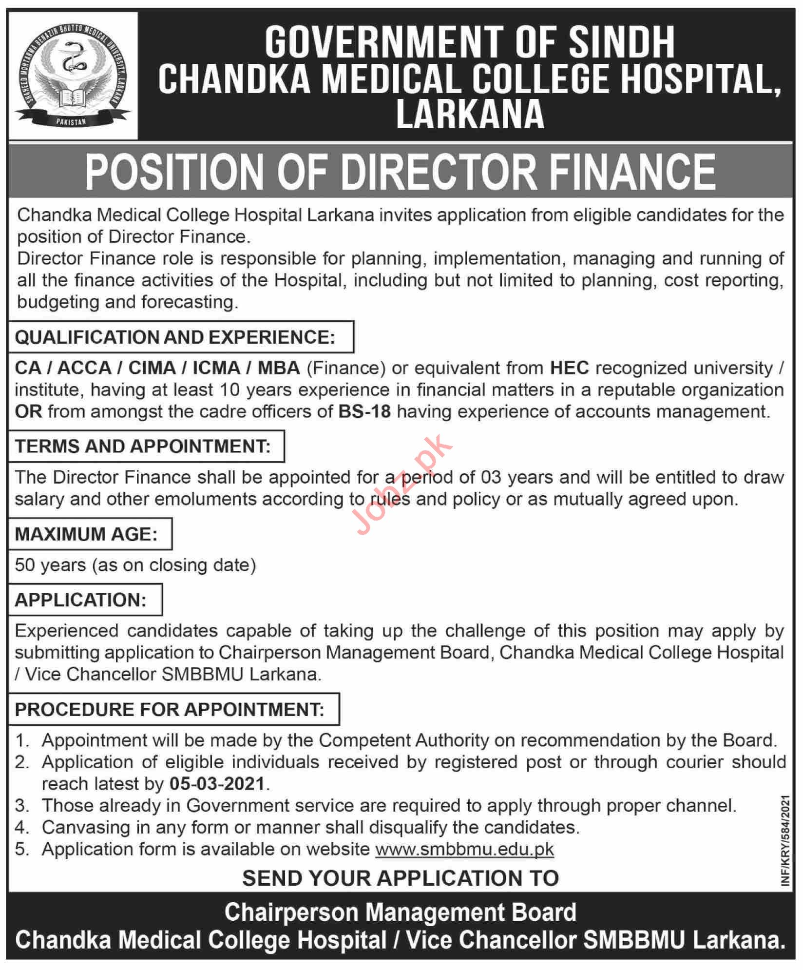 Chandka Medical College CMC Larkana Jobs 2021 for Director