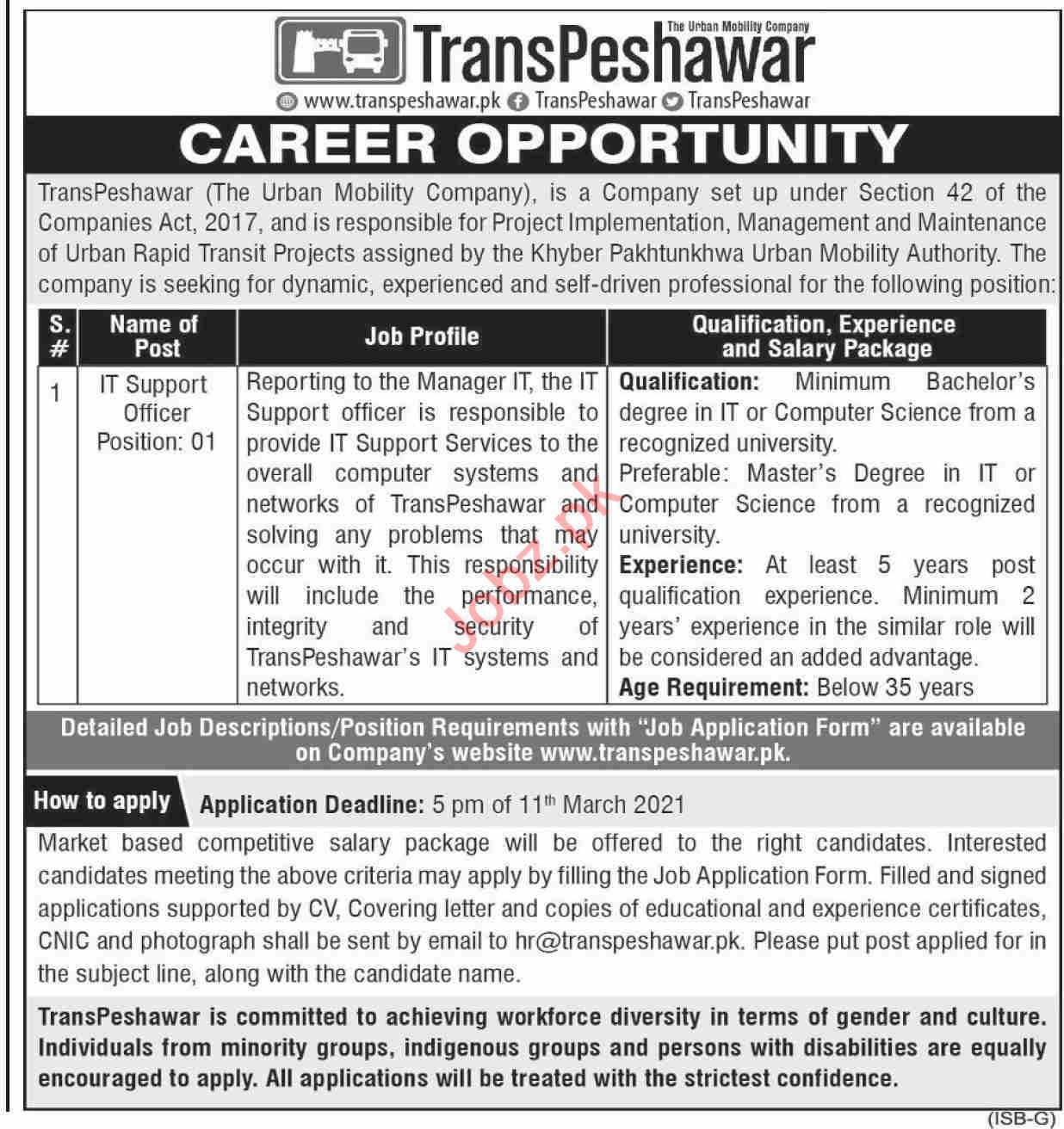 TransPeshawar Jobs 2021 for IT Support Officer