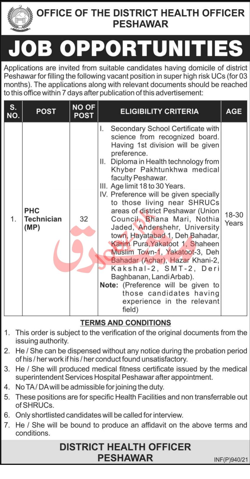 Technician Jobs 2021 in District Health Office DHO Peshawar