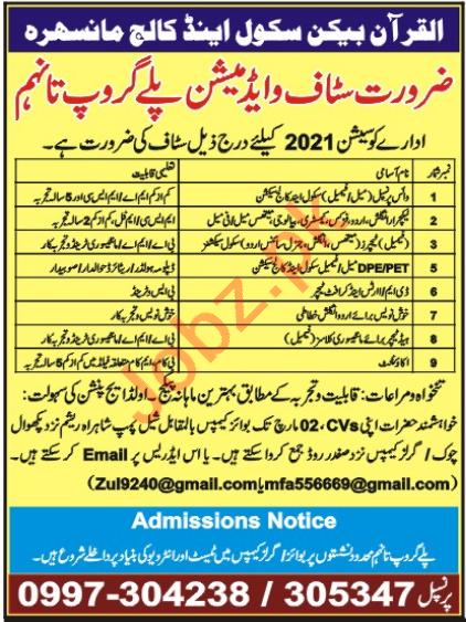Al Quran Beacon School & College Mansehra Jobs 2021