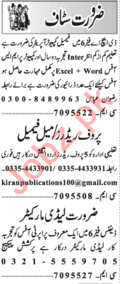 Lady Marketer & Proof Reader Jobs 2021 in Lahore