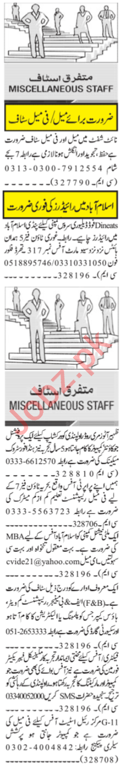 Quran Teacher & Delivery Rider Jobs 2021 in Islamabad