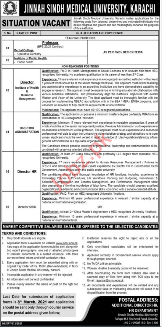Jinnah Sindh Medical University JSMU Jobs 2021 for Professor