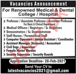 Medical Officer & Assistant Manager Accounts Jobs 2021