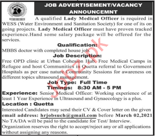 Water Environment & Sanitation Society WESS Quetta Jobs 2021