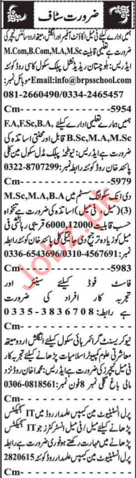 Account Officer & Female Instructor Jobs 2021 in Quetta