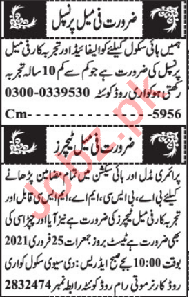 Female Principal & Section Head Jobs 2021 in Quetta