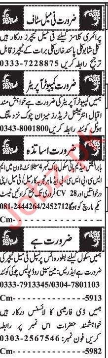 Computer Operator & Pharmacist Jobs 2021 in Quetta