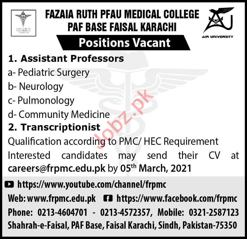 Fazaia Ruth Pfau Medical College FRPMC Faculty Jobs 2021