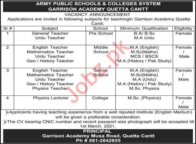 Army Public School & College System Garrison Academy Jobs