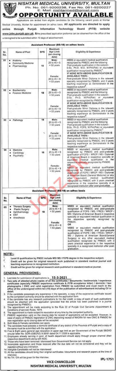 Nishtar Medical University NMU Multan Faculty Jobs 2021