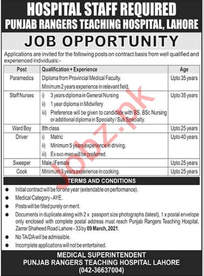 Punjab Rangers Teaching Hospital Lahore Jobs 2021 for Nurses