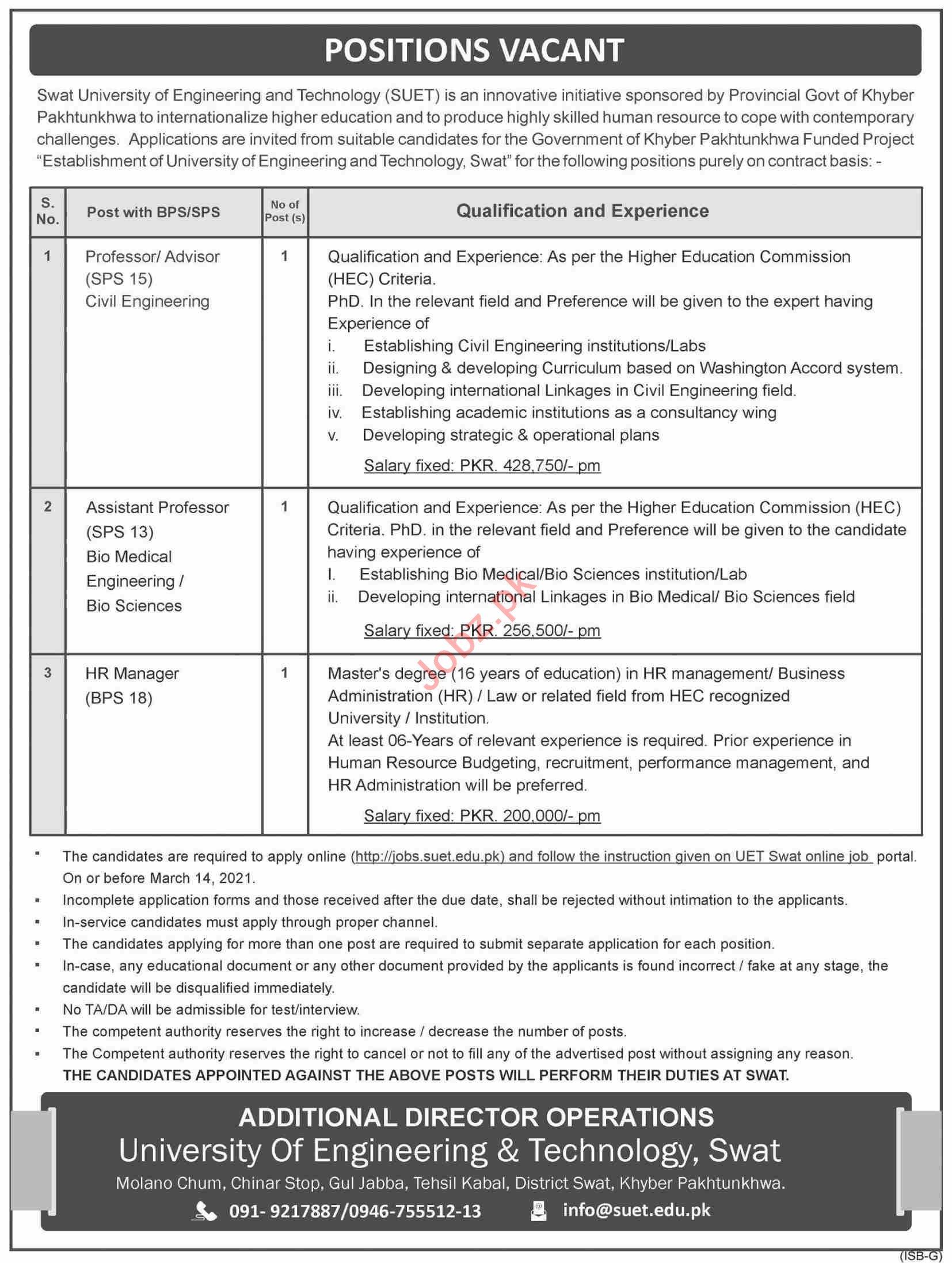 Swat University of Engineering & Technology SUET Jobs 2021