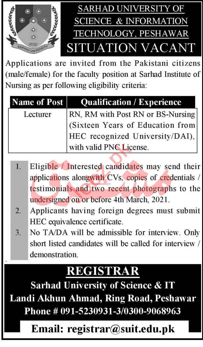 Sarhad University of Science & IT SUIT Peshawar Jobs 2021