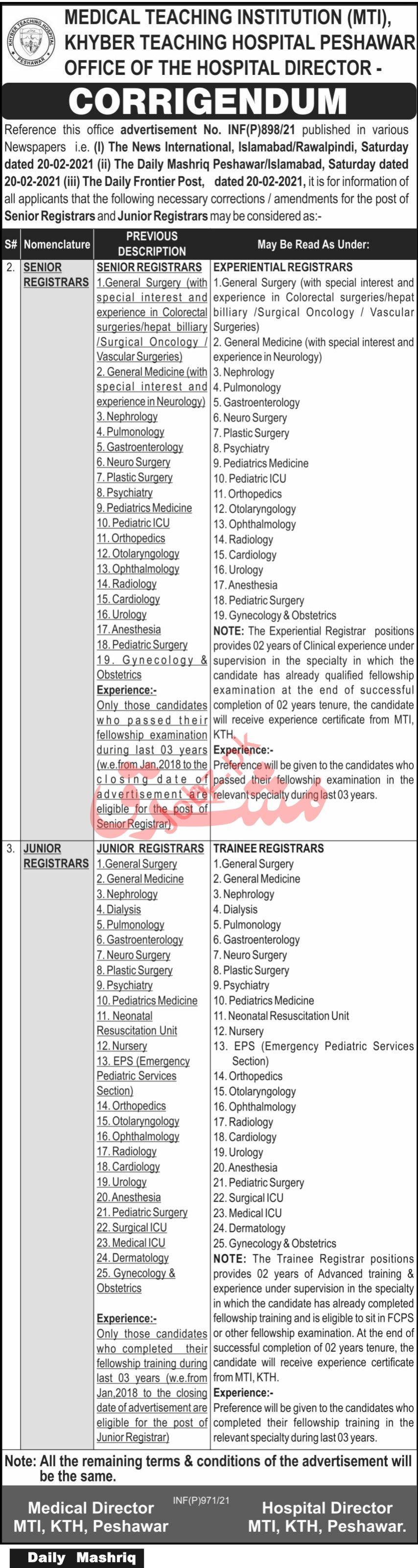 Khyber Teaching Hospital KTH MTI Peshawar Jobs 2021