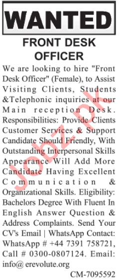 Front Desk Officer & Receptionist Jobs 2021 in Lahore