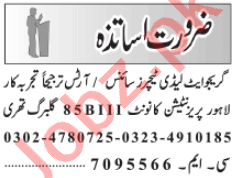 Male & Female Teaching Staff Jobs 2021 in Lahore