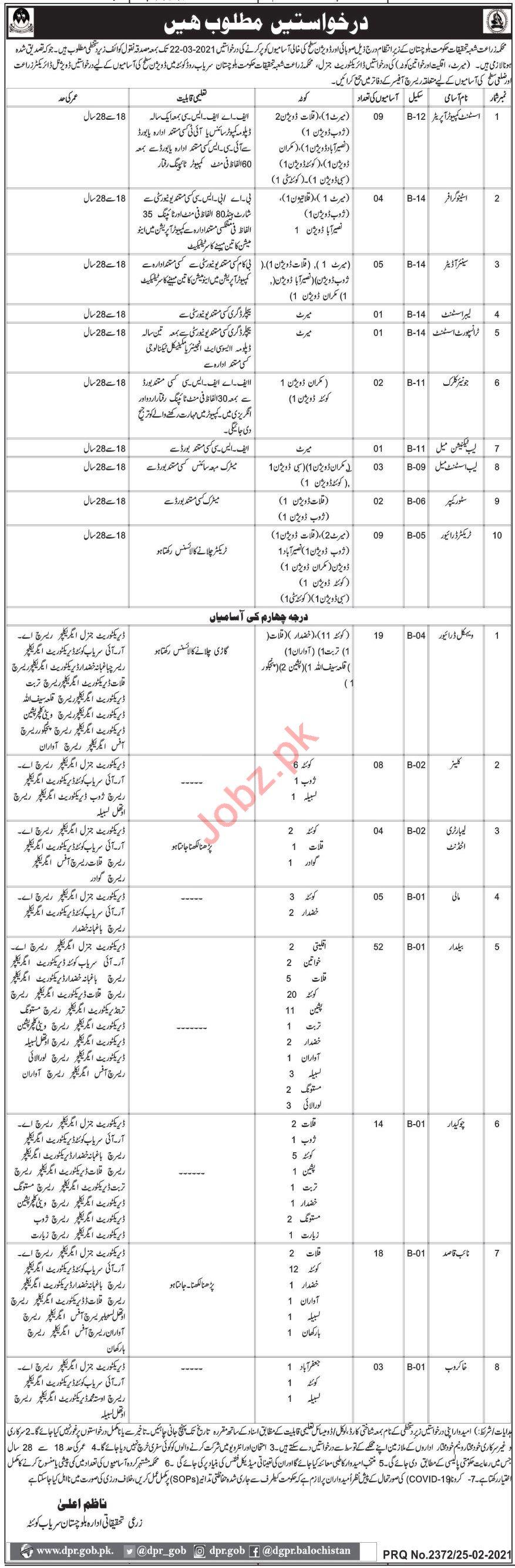Balochistan Agricultural Research & Development Centre Jobs