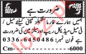Female Medical Rep & Salesman Jobs 2021 in Quetta