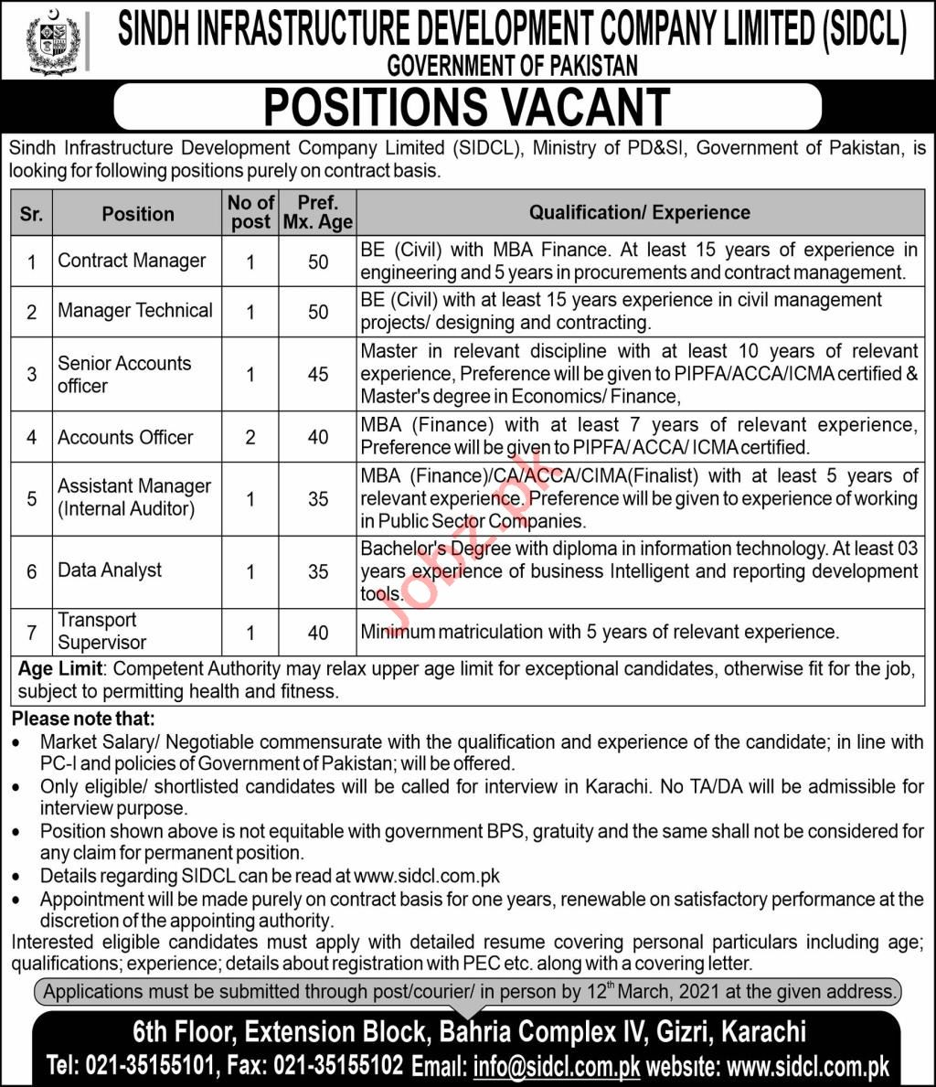SIDCL Sindh Infrastructure Development Co Karachi Jobs 2021