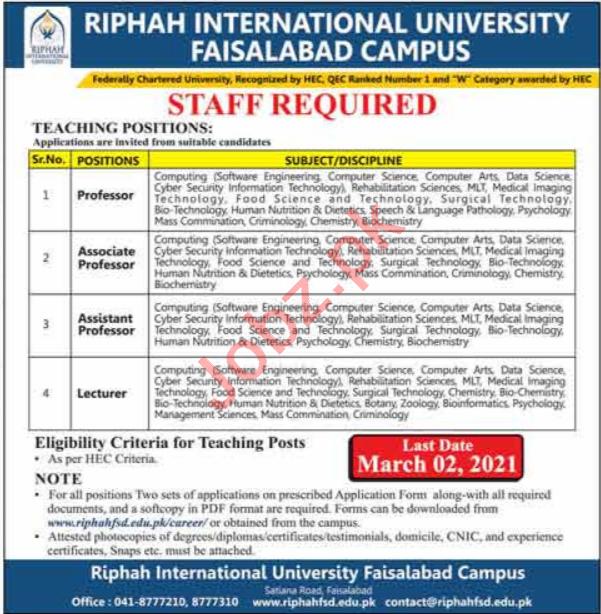 Riphah International University Faisalabad Campus Jobs 2021