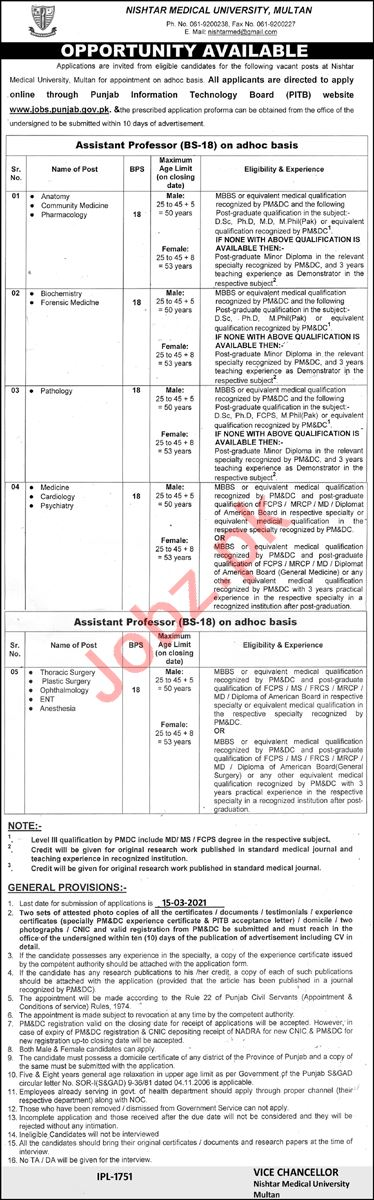 Nishtar Medical University Multan Jobs 2021 for Professors