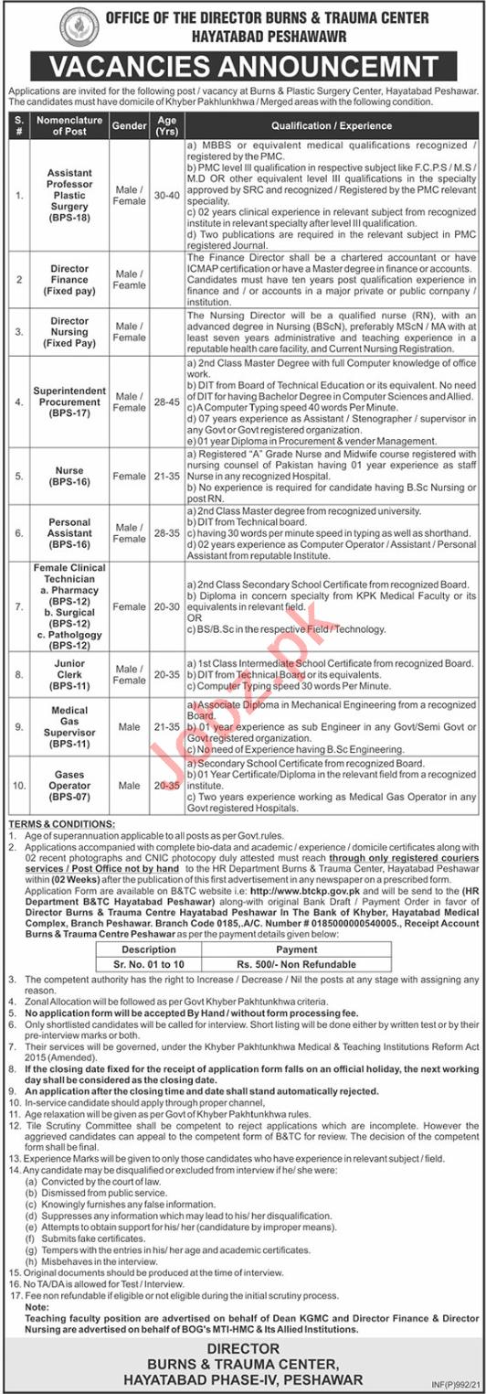 MTI Hayatabad Medical Complex HMC Peshawar Jobs 2021