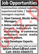 Online Marketing Expert & Steel Cement Sales Manager Jobs