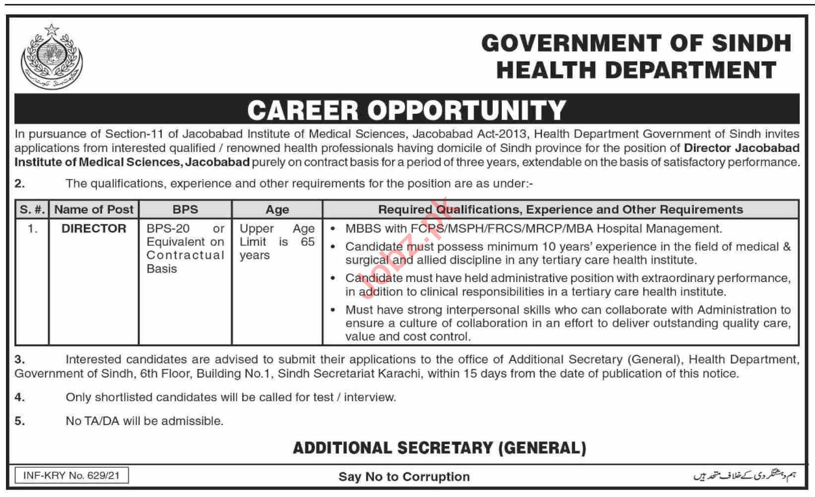 JIMS Jacobabad Institue of Medical Sciences Jobs 2021