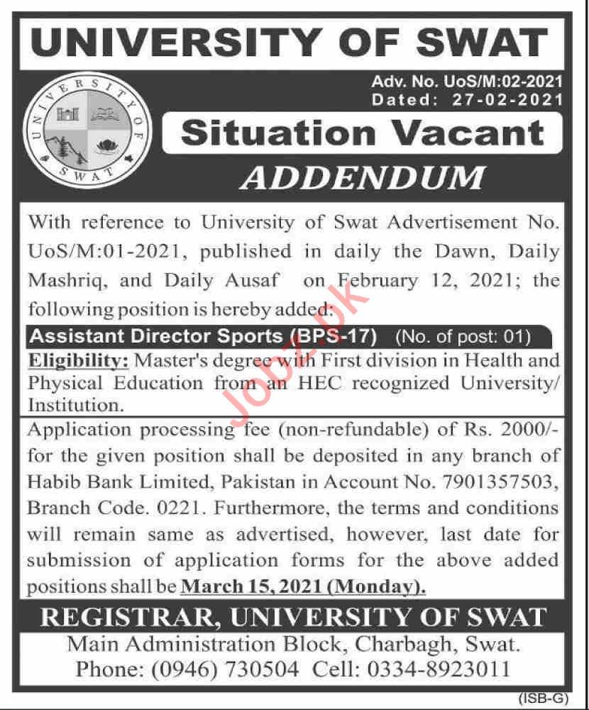 University of Swat Jobs 2021 for Associate Director Sports
