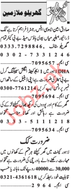 House Staff Jobs Open in Lahore 2021