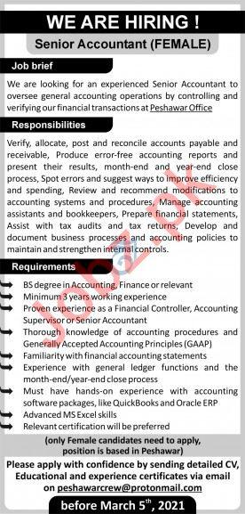 Female Senior Accountant & Accountant Jobs 2021