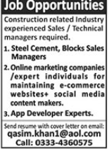 Sales & Technical Managers Jobs 2021 in Lahore