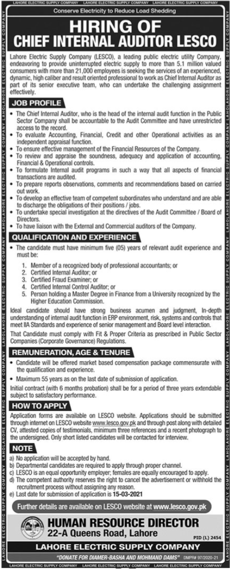 LESCO Job 2021 For Chief Internal Auditor in Lahore