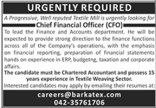 Chief Financial Officer CFO Job 2021 in Lahore