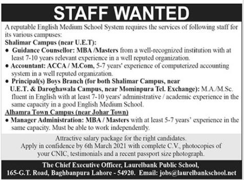 English Medium School System Jobs 2021 in Lahore