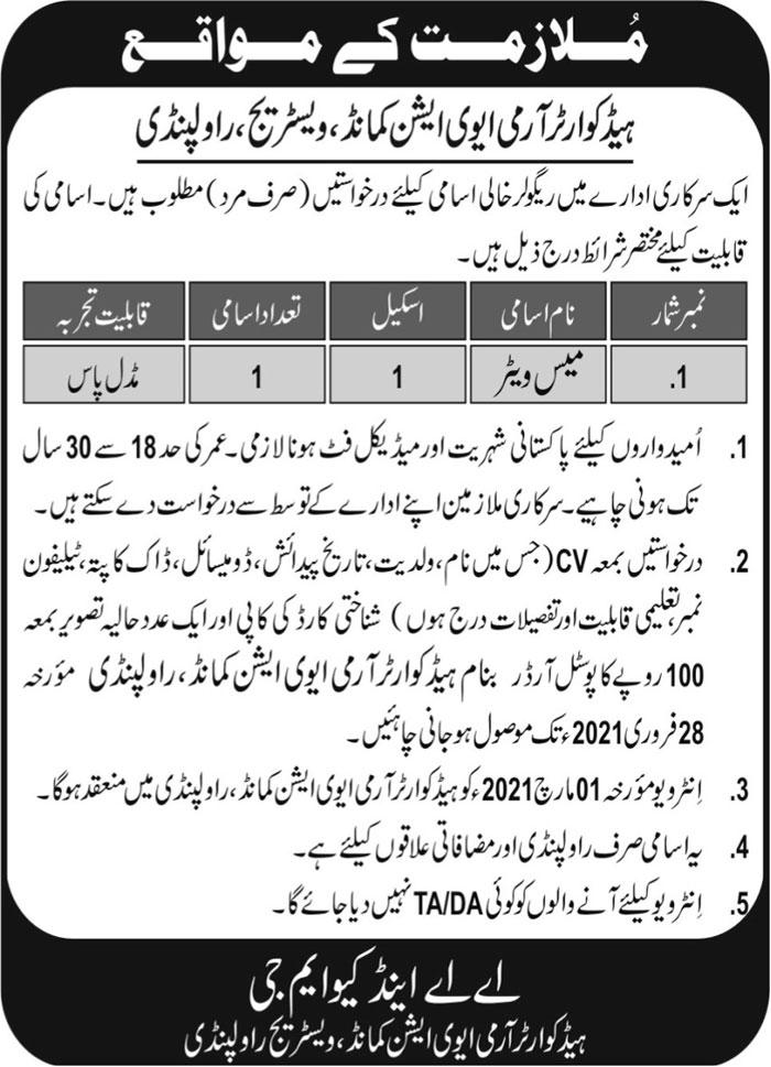 Headquarter Army Aviation Command Jobs 2021 in Rawalpindi