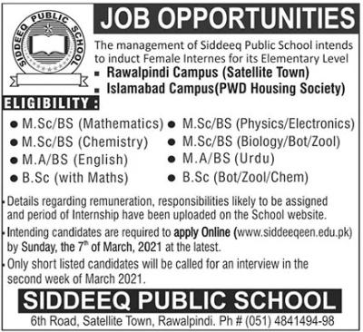 Siddeeq Public School Jobs 2021 For Internees