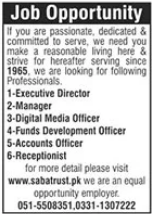 Saba Trust NGO Jobs 2021 For Management Staff in Islamabad