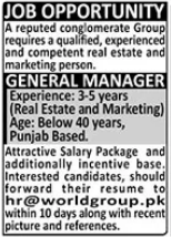 World Group Job 2021 For General Manager in Karachi