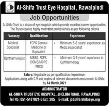 Al Shifa Trust Eye Hospital Jobs 2021 in Rawalpindi
