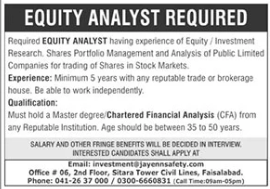 Equity Analyst Job 2021 in Faisalabad