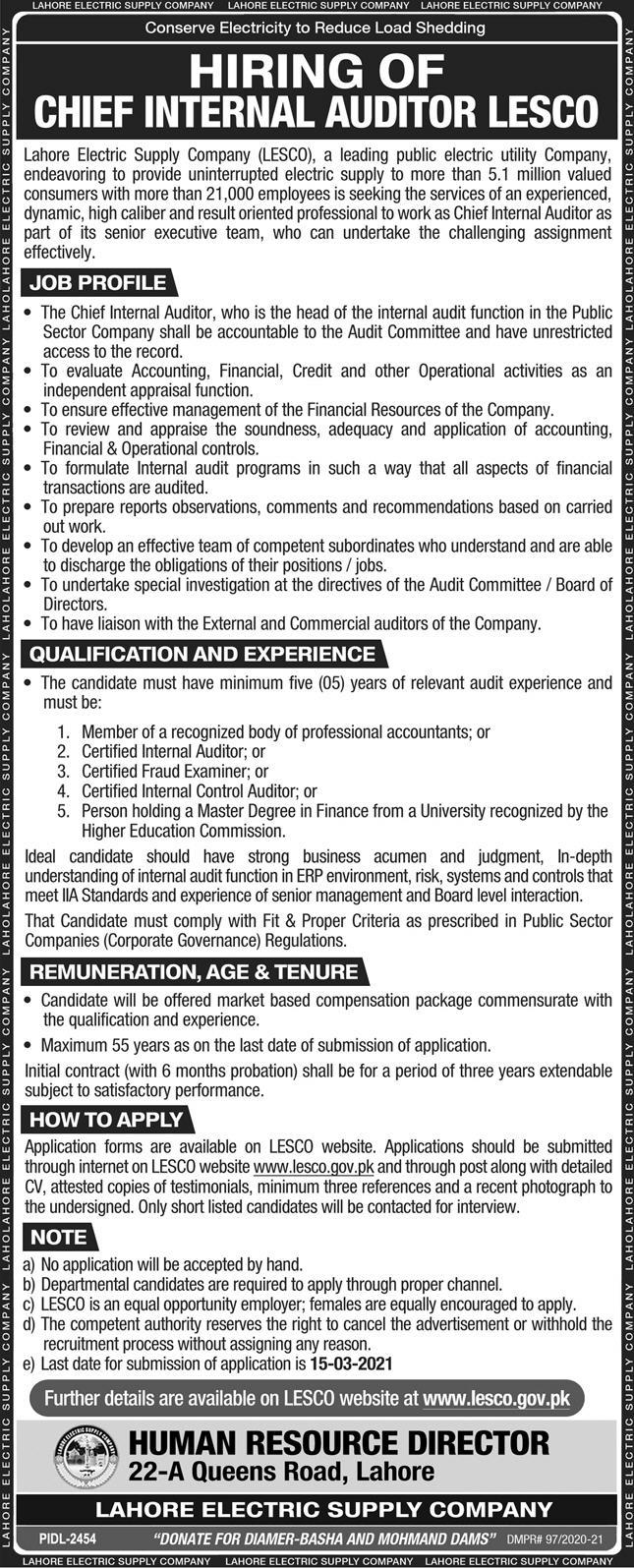 Lahore Electric Supply Company LESCO Jobs 2021 in Lahore