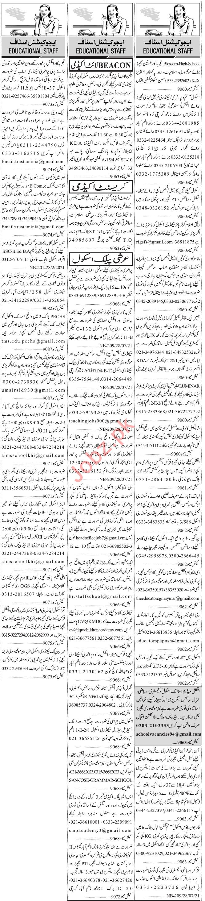 Jang Sunday Classified Ads 28 Feb 2021 for Educational Staff