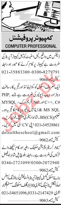 Jang Sunday Classified Ads 28 Feb 2021 for Computer Staff
