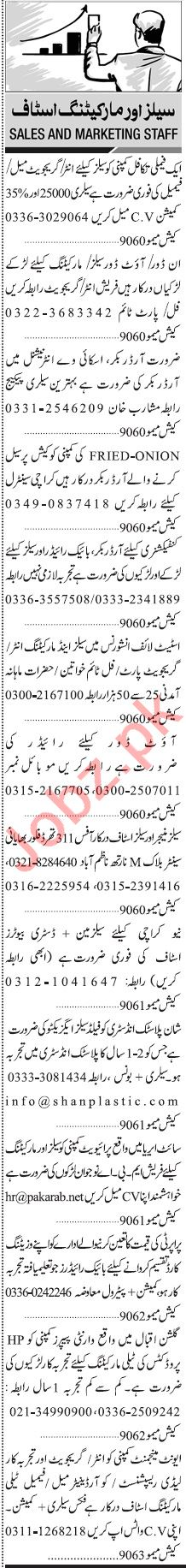 Jang Sunday Classified Ads 28 Feb 2021 for Sales & Marketing