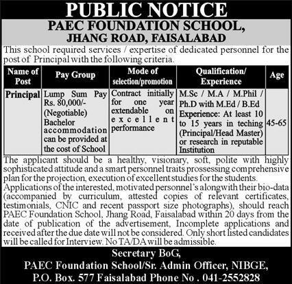 PAEC Foundation School Job 2021 For Principal in Faisalabad