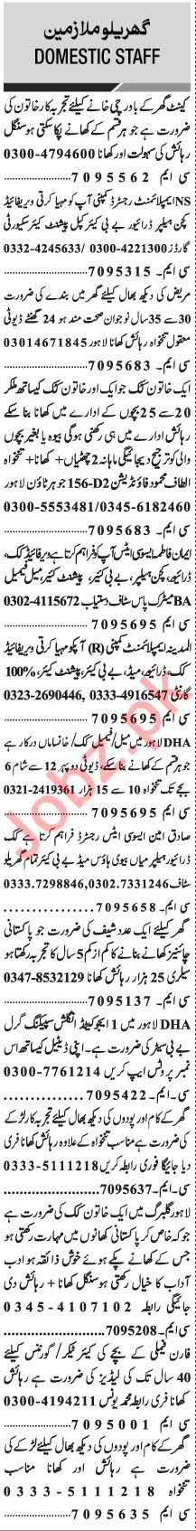 Jang Sunday Classified Ads 28 Feb 2021 for Domestic Staff